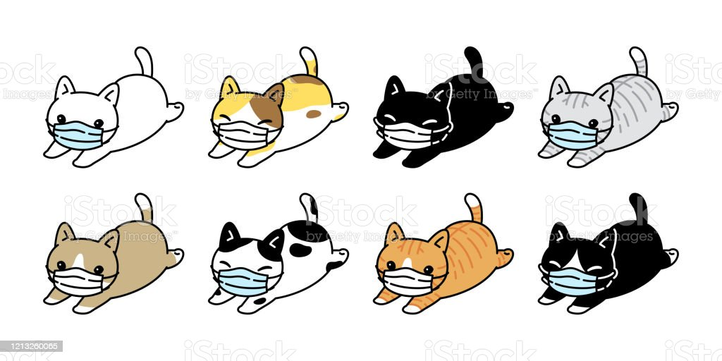 Cat Vector Face Mask Covid19 Kitten Icon Corona Virus Calico