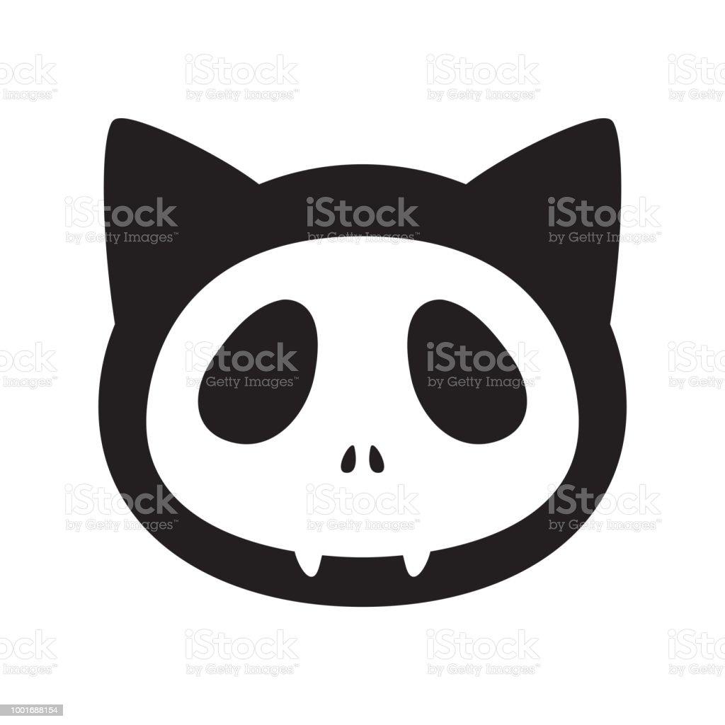 Katze Vektor Halloween Symbol Totenkopf Logo Kätzchen Cartoon ...