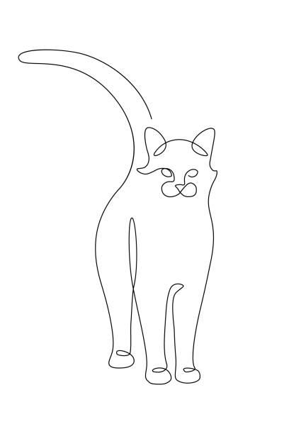 katze - einzelnes tier stock-grafiken, -clipart, -cartoons und -symbole