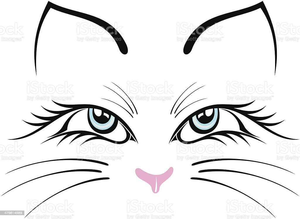 Line Drawing Cat Face : Royalty free whisker cat clip art vector images illustrations