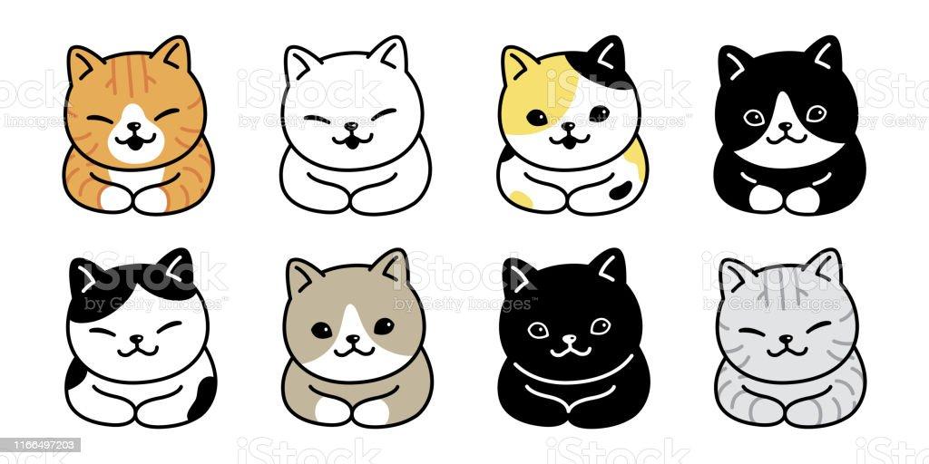 cat vector kitten breed calico icon logo symbol cartoon character...