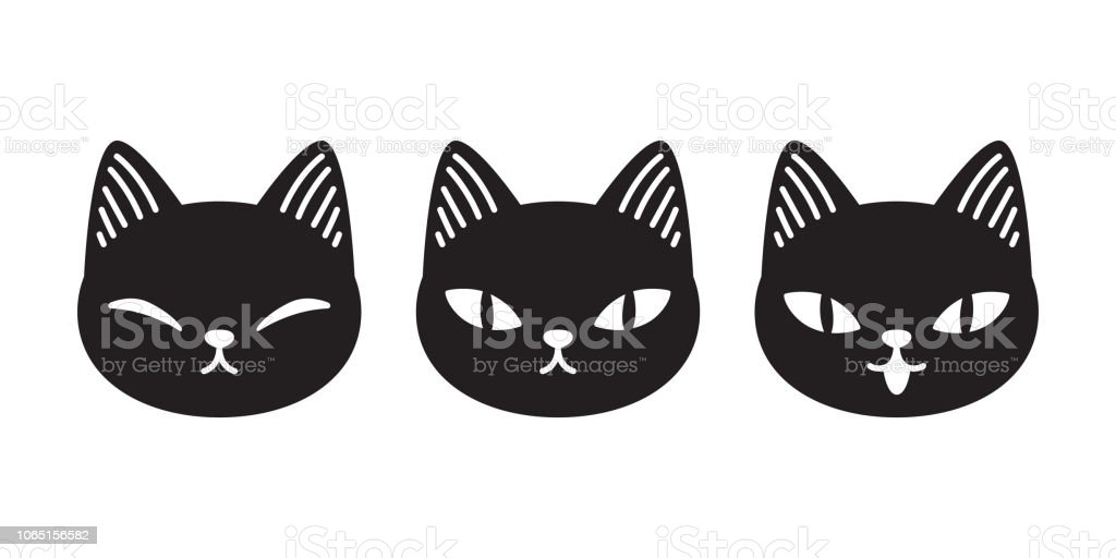 Katze Kitten Kattun Cartoon Charakter Halloween Symbol Logo