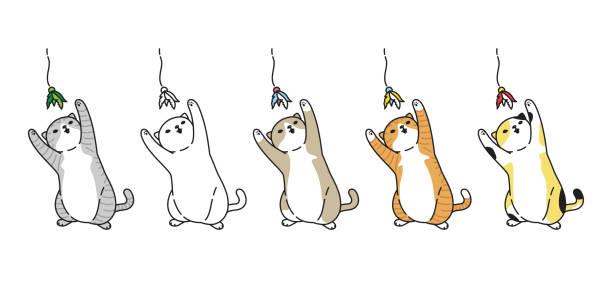 stockillustraties, clipart, cartoons en iconen met cat vector kitten katoen icoon spelen speelgoed symbool logo cartoon karakter doodle illustratie ontwerp - miauwen