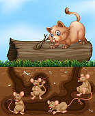 A cat waiting for rat at hole illustration