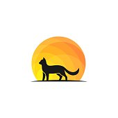 Cat Walk On Sunset Design Concept illustration Vector Template. Suitable for Creative Industry, Multimedia, medical, entertainment, Educations, Shop