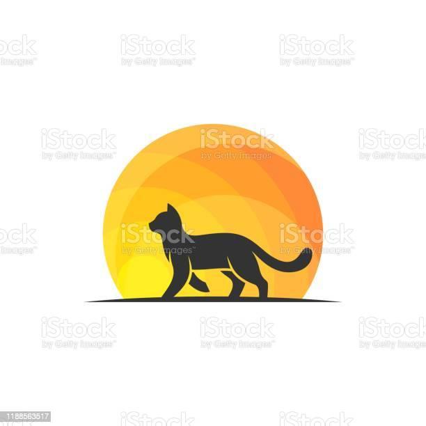 Cat walking on sunset design concept illustration vector template vector id1188563517?b=1&k=6&m=1188563517&s=612x612&h=xnilpcbd6cgsl9xpt 7yectisabnjeg8byy9vjbefyo=