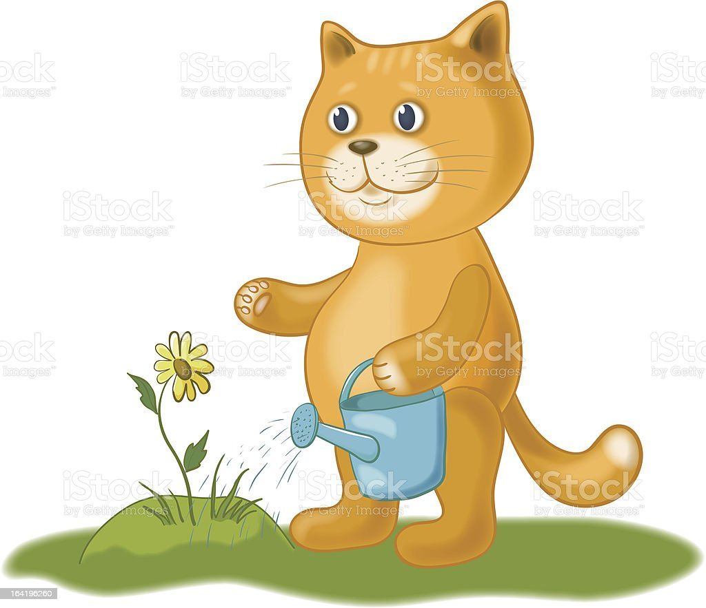 Cat watering a flower royalty-free stock vector art