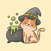 Cat wearing witch hat and poison pot with bubbles hand drawn cartoon animal character. Hand drawing vector. Cartoon character design.