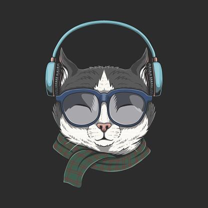 Cat Wears headphones illustration
