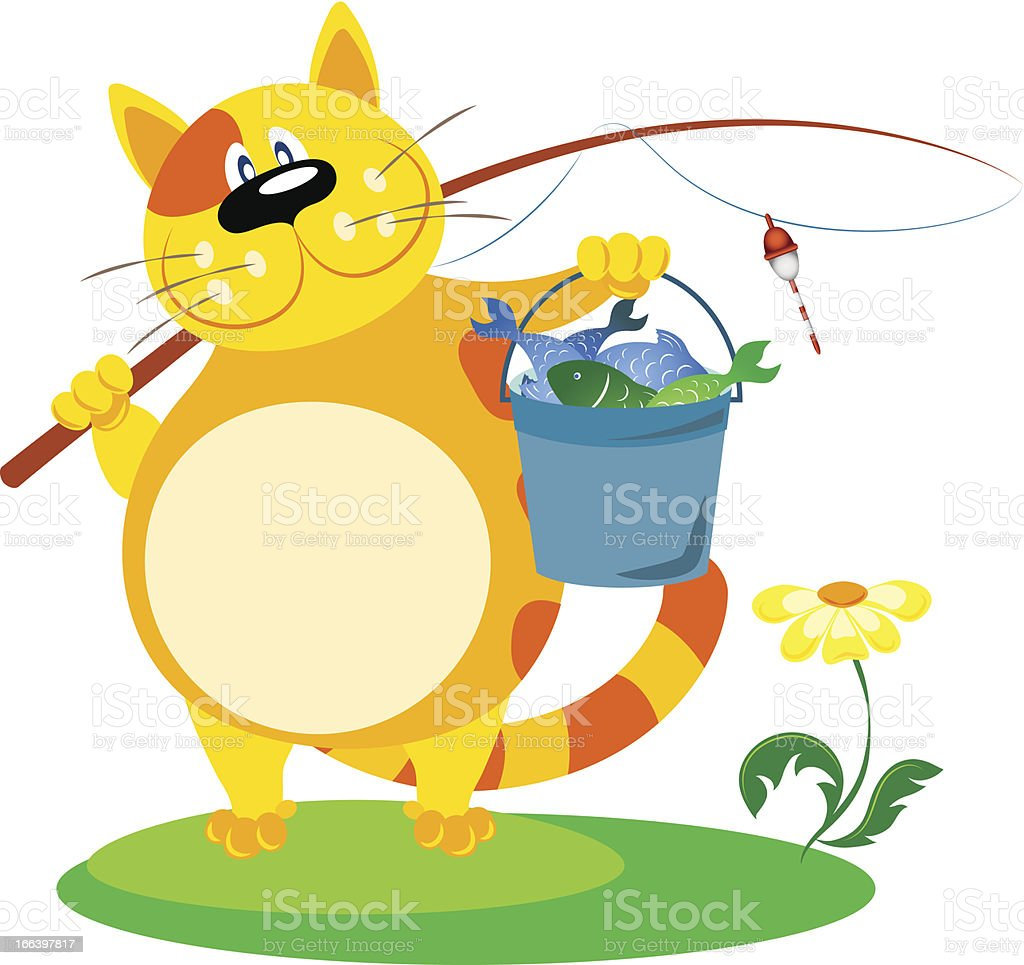 cat with a fishing rod royalty-free stock vector art