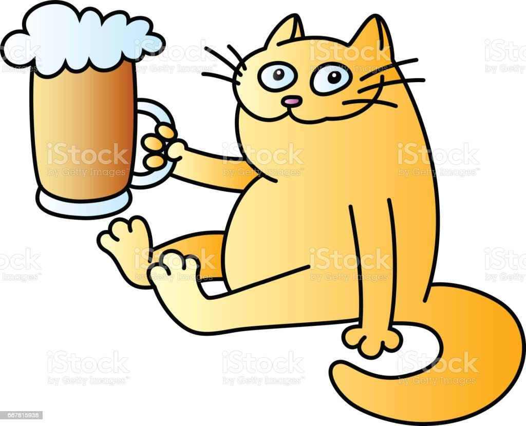 cat with a mug of beer. vector illustration. vector art illustration