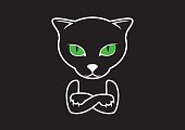 Cat with arms crossed vector