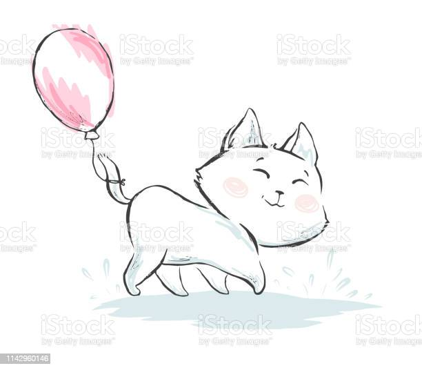 Cat with balloon cute print cool kitty illustration vector id1142960146?b=1&k=6&m=1142960146&s=612x612&h=q4rpvffqsi4xnpfs4etnv4cmer49wlagwo5la9gubzy=