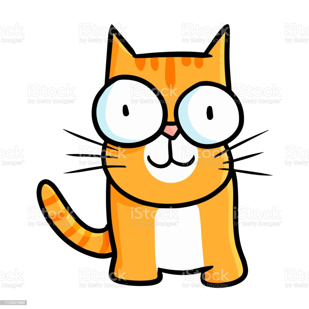 Cat With Big Eyes Smiling And Standing Stock Illustration