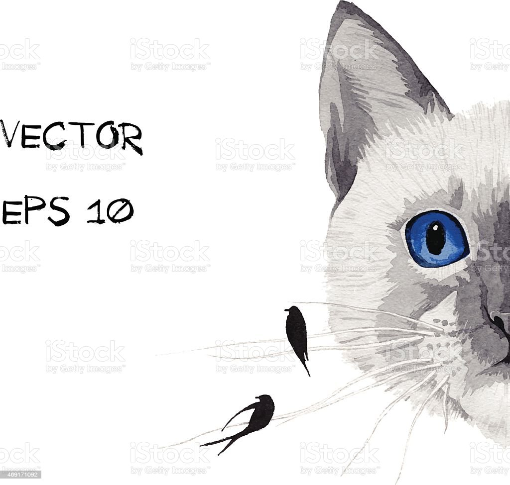 cat with blue eyes and birds mustache vector art illustration
