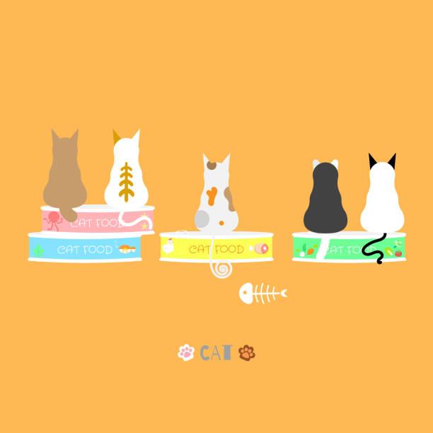 ilustrações de stock, clip art, desenhos animados e ícones de cat with cat food various flavor in orange background - lata comida gato