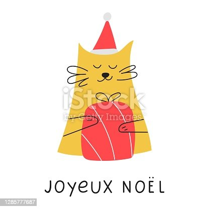 istock Cat with Christmas gift box. 1285777687