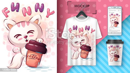 Cat with coffee poster and merchandising