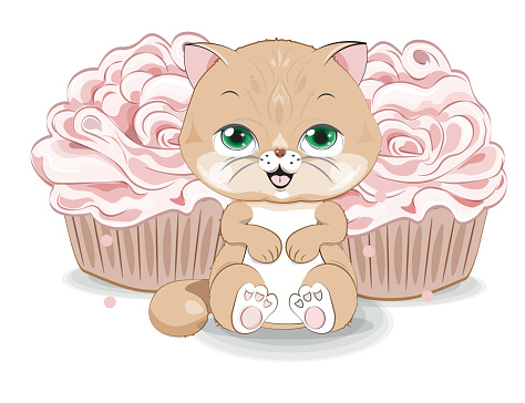 cat with cupcake