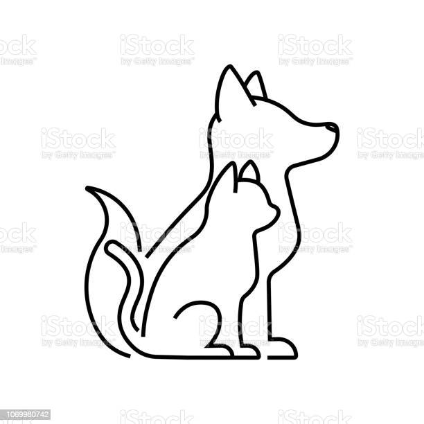 Cat with dog icon vector pets silhouettes in thin line style creative vector id1069980742?b=1&k=6&m=1069980742&s=612x612&h=svzk5tnbtbmd8a6ustav1hq5mg1e3baujkukhewwoga=