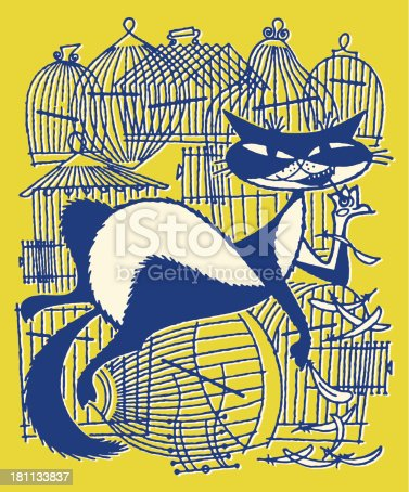 Cat With Empty Birdcages