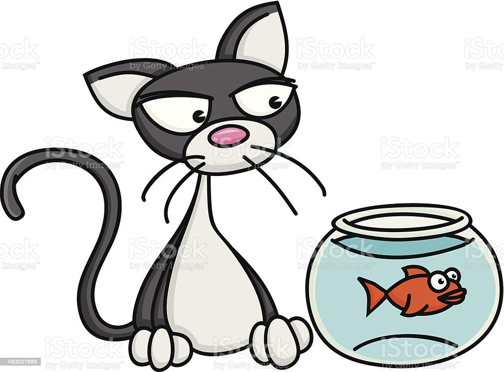 Cat with Fishbowl royalty-free cat with fishbowl stock vector art & more images of animal