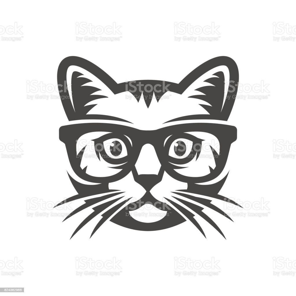Cat with glasses. geek vector art illustration