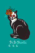 """Cat with marigolds flowers. Mexican holiday Day of the Dead. Dia de Los Muertos card. Invitation poster. Halloween. Lettering """"Dia De Muertos"""". Vector illustration."""