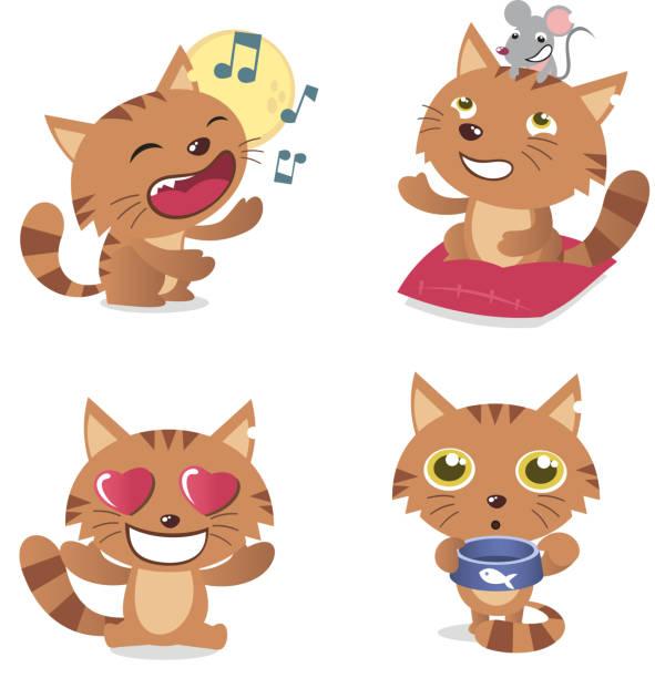 stockillustraties, clipart, cartoons en iconen met cat with singing kitten mouse and tomcat in love pussycat - miauwen