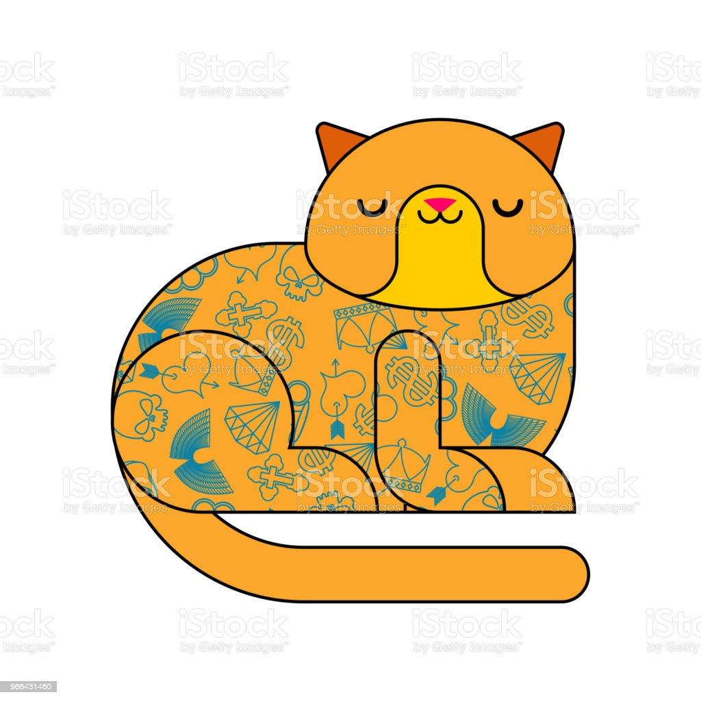 タトゥーと猫おしゃれなスタイリッシュな動物流行に敏感なペットベクトル