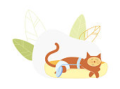 Cat Wearing Diaper Sleeping with Wheel Instead of Amputated Hind Leg, Disable Animal Medical Assistance, Pets with Disabilities Surgery, Veterinary Clinic Prosthetics. Cartoon Flat Vector Illustration