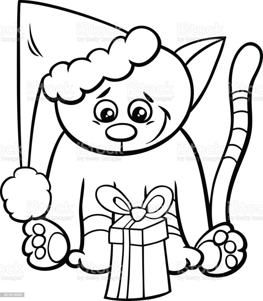 Ilustración de Gato Con Regalo De Navidad Para Colorear Libro y más ...