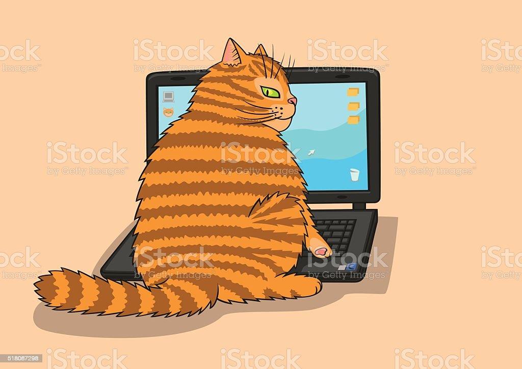 Cat works on the laptop. vector art illustration