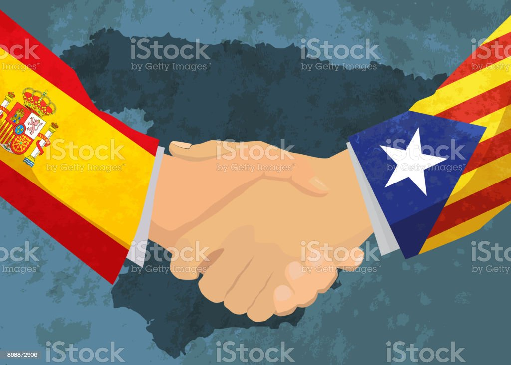 Catalonia and Spain handshake, concept illustration with map on background vector art illustration