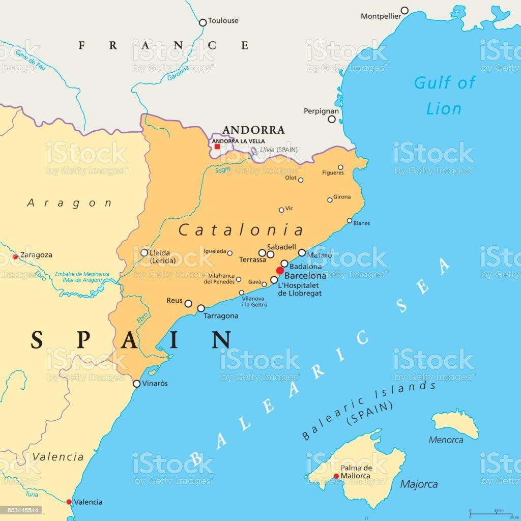 Catalonia autonomous community of Spain political map vector art illustration