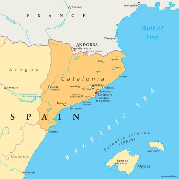 catalonia otonom i̇spanya siyasi haritası - lleida stock illustrations