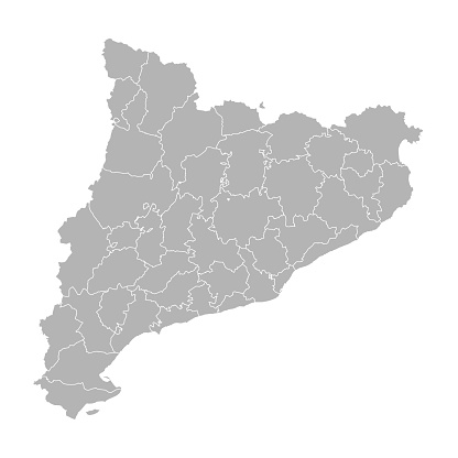 Catalonia detailed map. Gray background. Business concepts, chart and backgrounds.