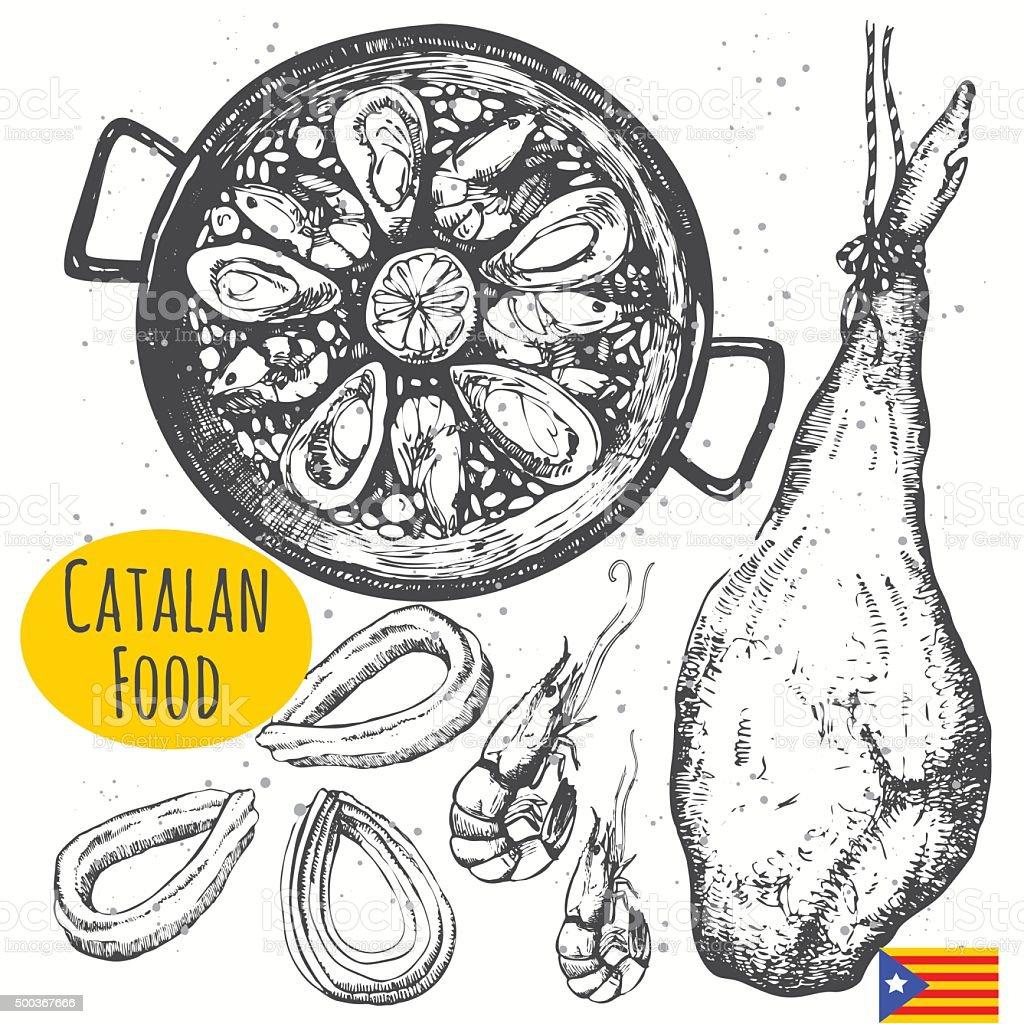 カタロニア料理のスケッチスタイルです。スペインの伝統的な製品です。 ベクターアートイラスト