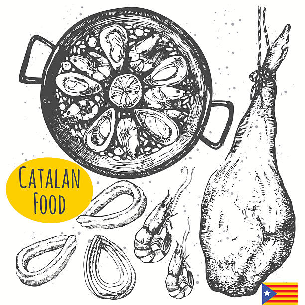 stockillustraties, clipart, cartoons en iconen met catalonia food in the sketch style. spanish traditional products. - meat pan