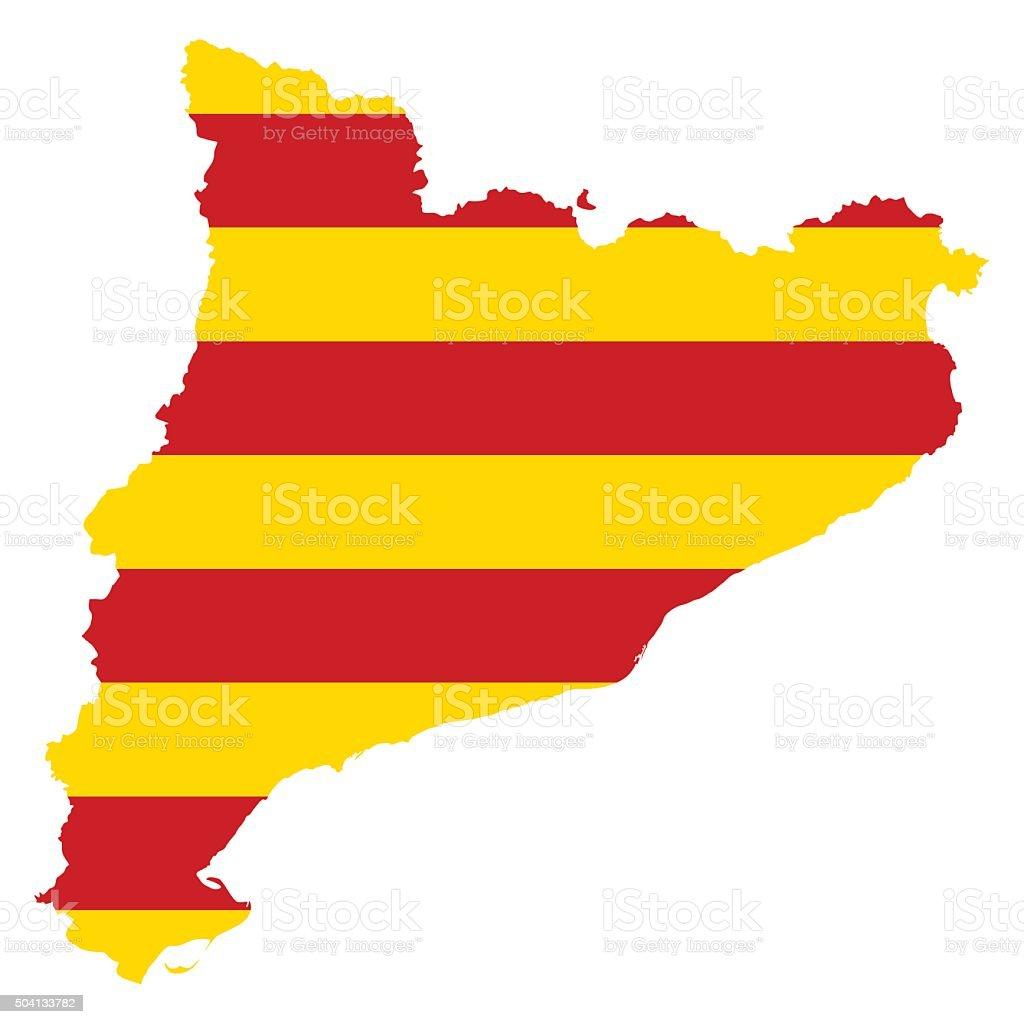 catalonia map on catalonia flag background vector stock vector art