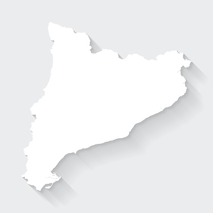 White map of Catalonia isolated on a gray background with a long shadow effect and in a flat design style. Vector Illustration (EPS10, well layered and grouped). Easy to edit, manipulate, resize or colorize.