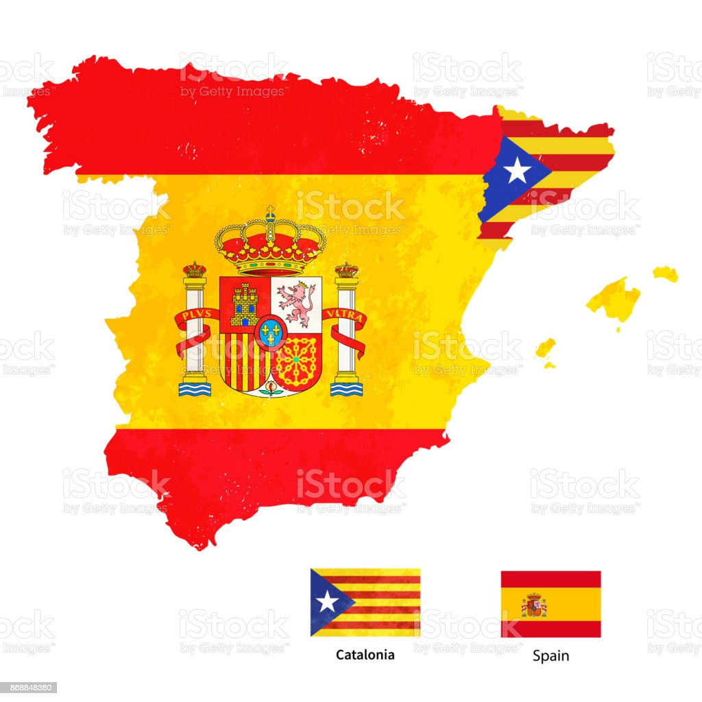 Map Of Spain Showing Catalonia.Catalonia Silhouette On Spain Map With Flags Isolated On White Stock