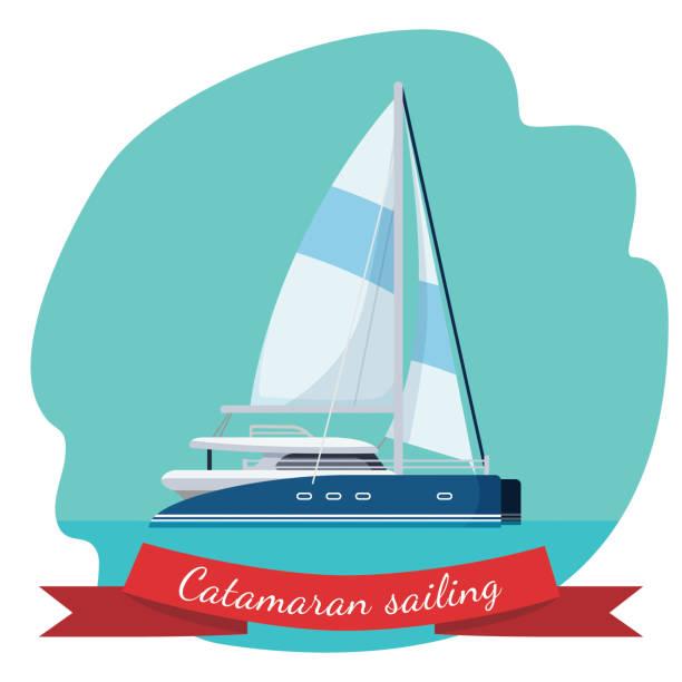 bildbanksillustrationer, clip art samt tecknat material och ikoner med katamaran segelbåt med duk vektorillustration isolerade - katamaran