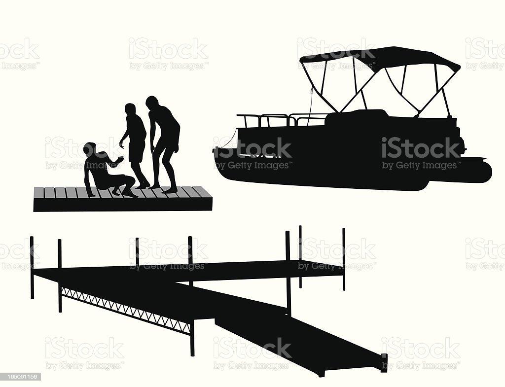 Catamaran Vector Silhouette vector art illustration