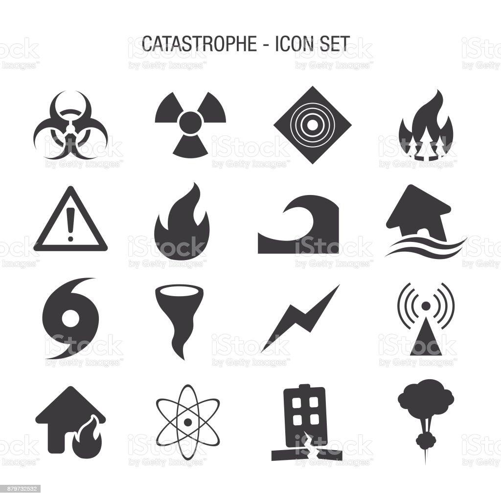 Catastrophe Icon Set vector art illustration