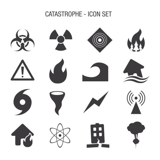 Catastrophe Icon Set Vector of Catastrophe Icon Set earthquake stock illustrations