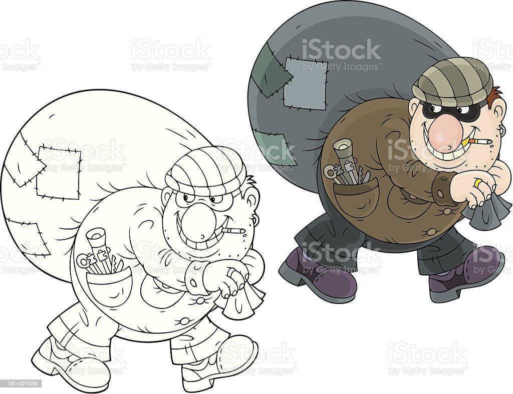 cat-burglar vector art illustration