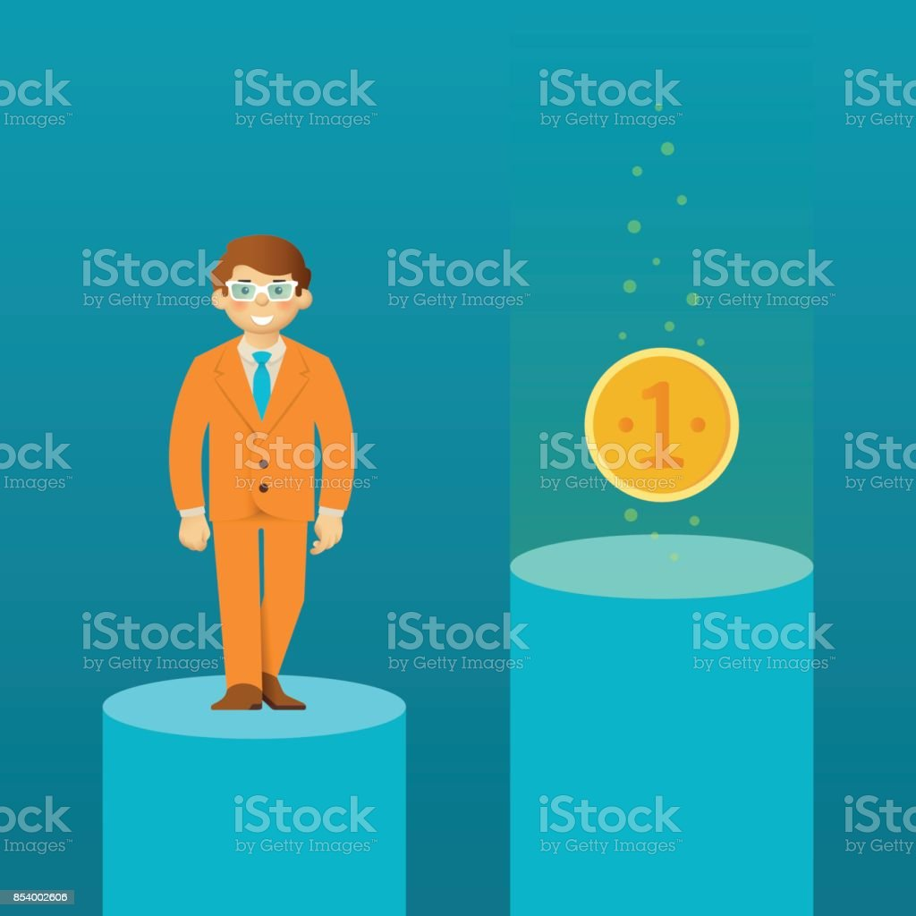 Catch the coin computer game style vector scene vector art illustration