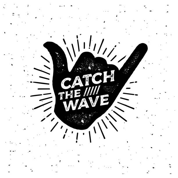 Catch the wave Black Shaka Vector illustration Catch the wave. Surfing lettering shaka print vector for flyer, poster,  or t-shirt print. surf stock illustrations
