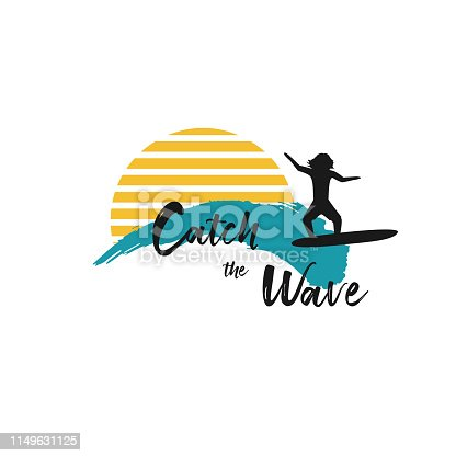 Catch the wave quote with surfing men on ocean blue waves and yellow sun on white background. Template for logo, icon or sign for surf board shop. Design Hawaii t-shirt print. Vector illustration.